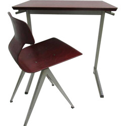 Set of Galvanitas industrial writing desk and its chair - 1960s