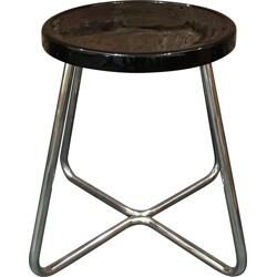 Functionalist steel stool with black lacquered beech - 1930s