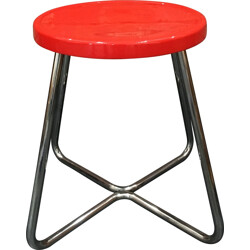 Functionalist steel stool with red lacquered beech seat - 1930s