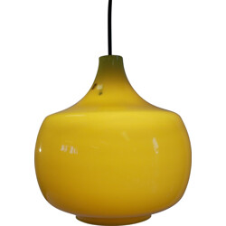 Yellow hanging lamp in glass, Paolo VENINI - 1960s