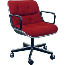 Knoll office chair in metal and red fabric, Charles POLLOCK - 1960s
