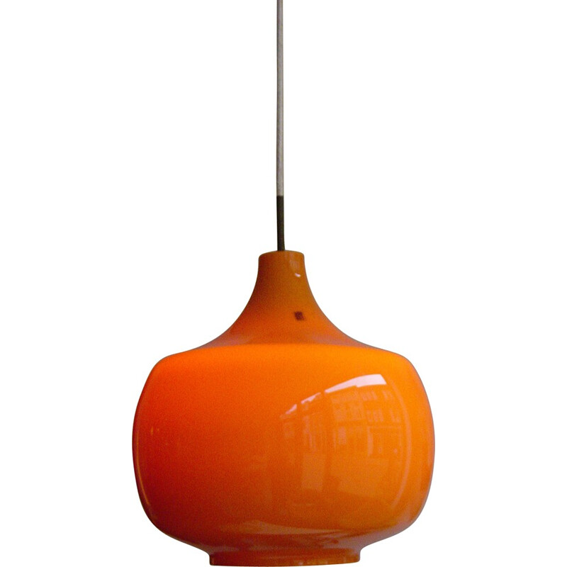 Mid-century Venini hanging lamp in orange opaline glass, Paolo VENINI - 1960s