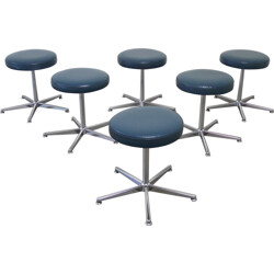 Set of 6 German stools in metal and leather - 1970s