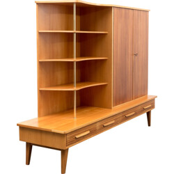 Large mid century highboard in ashwood and zebrawood - 1950s