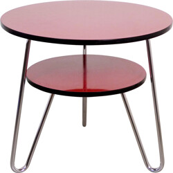 Red round coffee table in steel - 1950s