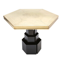 Mid century hexagonal table in brass and metal, Christian HECKSCHER - 1980s