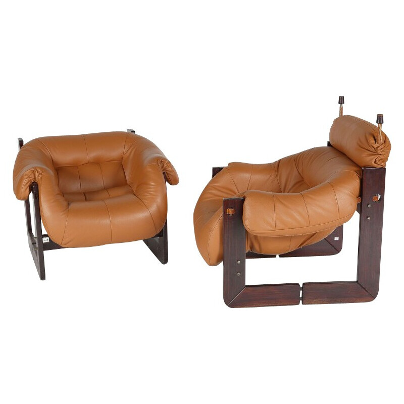 Pair of armchairs in leather and rosewood, Percival LAFER - 1960s