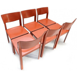 Set of 6 Italian dining chairs in brown leather, Matteo GRASSI - 1970s
