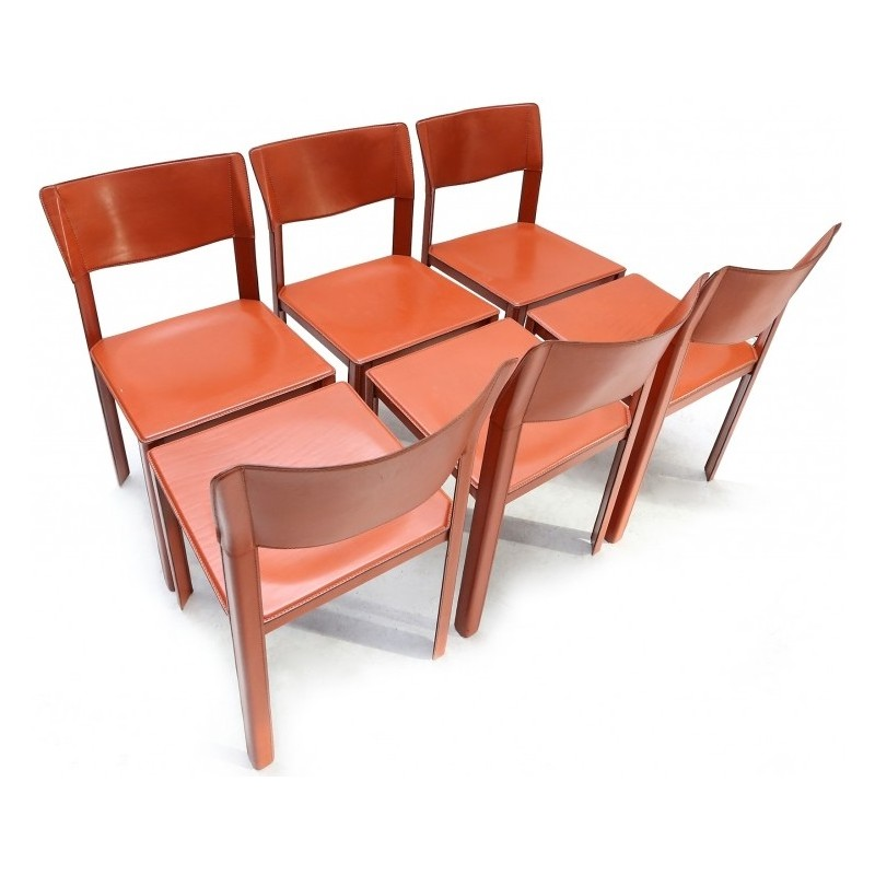 Set Of 6 Italian Dining Chairs In Brown Leather, Matteo GRASSI   1970s