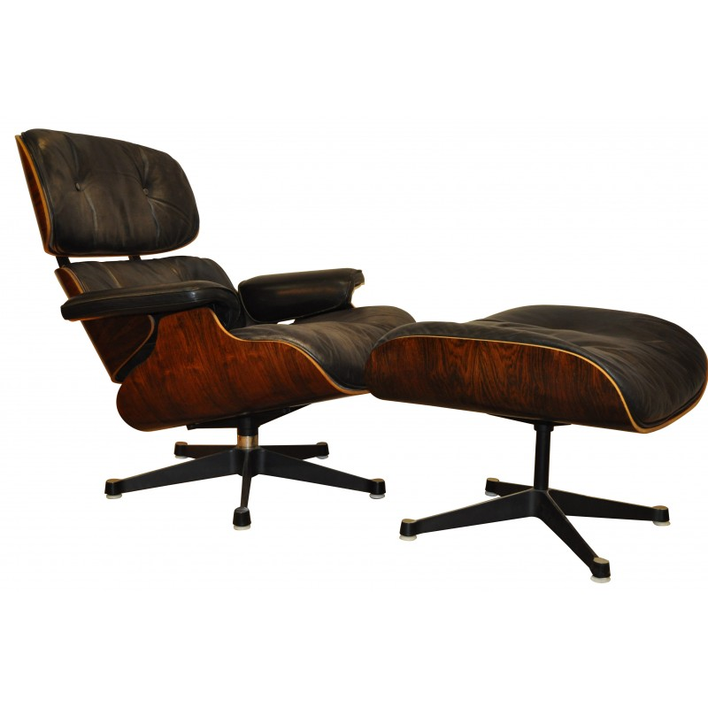 Armchair Lounge Chair And Its Ottoman Charles And Ray EAMES - Fauteuil design charles eames