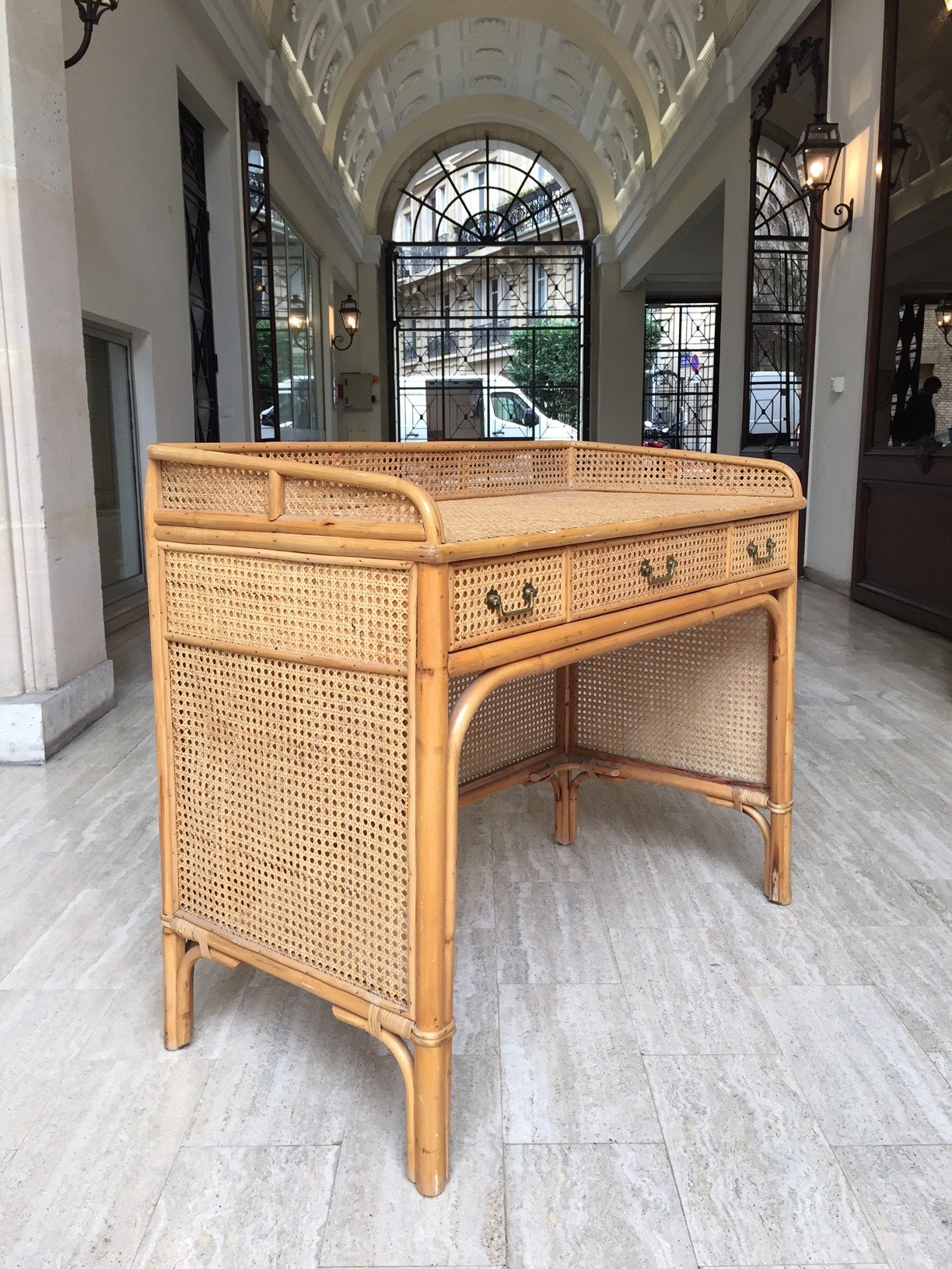 Vintage Rattan Desk 1960s Previous Next