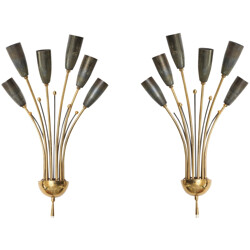 Pair of Italian wall lamps in brass - 1950s