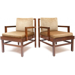 Pair of mid-century Wengé armchairs in wood and beige fabric - 1950s