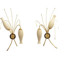 Pair of French Maison Arlus wall lamps in opaline glass - 1950s