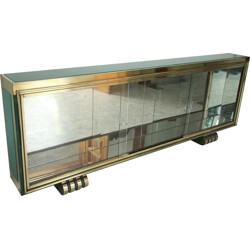 Vitrine in glass and gold coloured bronze - 1930s