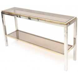 """Linea Flaminia"" console table in glass and chromed steel, Willy RIZZO - 1970s"