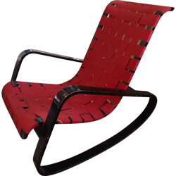 "Italian ""Dondolo"" rocking chair in lacquered beech and red cotton, Luigi CRASSEVIG - 1970s"