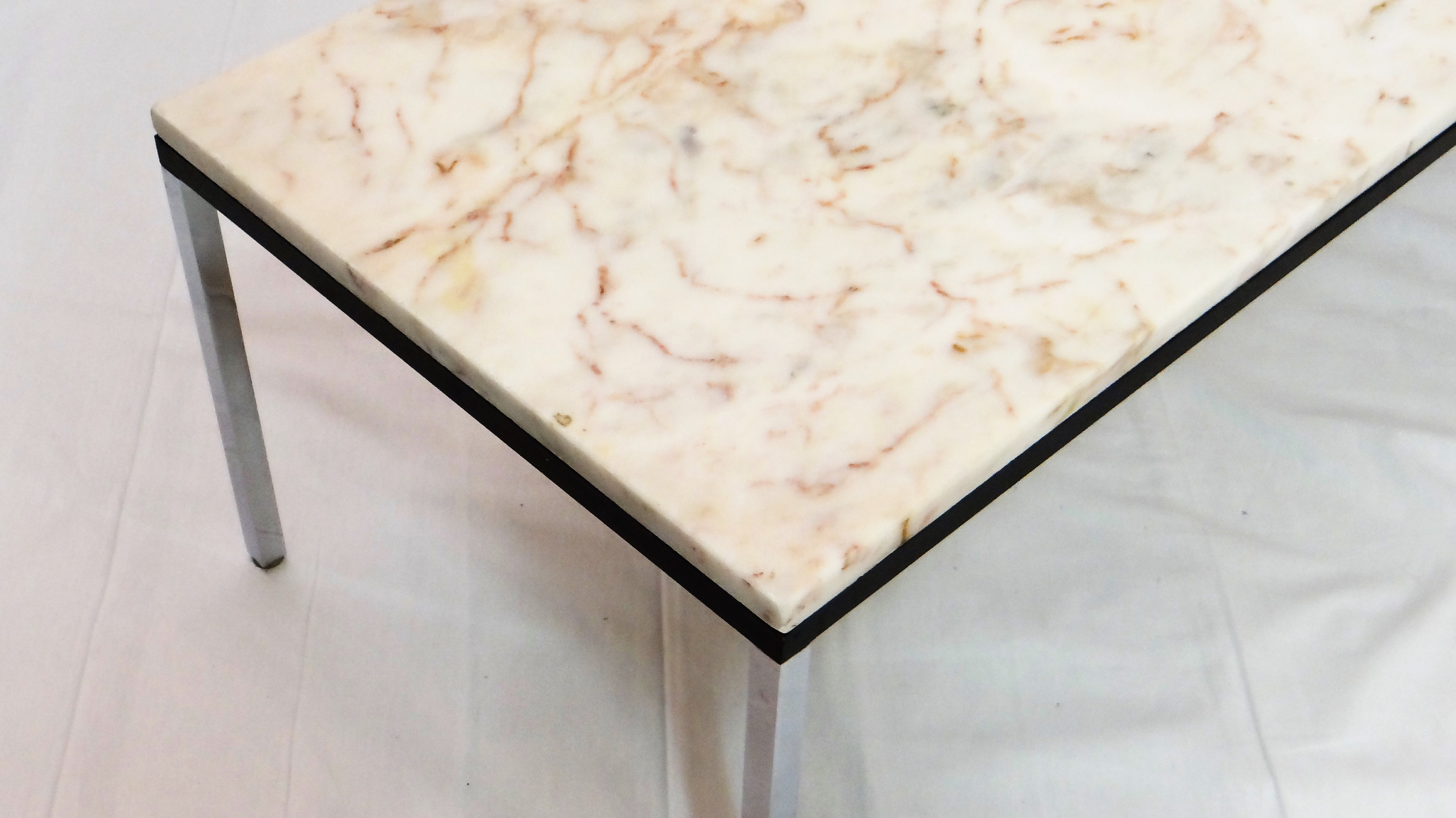 Mid Century Rectangular Coffee Table With Marble Top