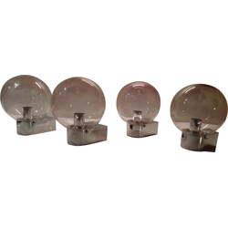 Set of 4 German wall lamps in smoked glass and chromed steel - 1960s