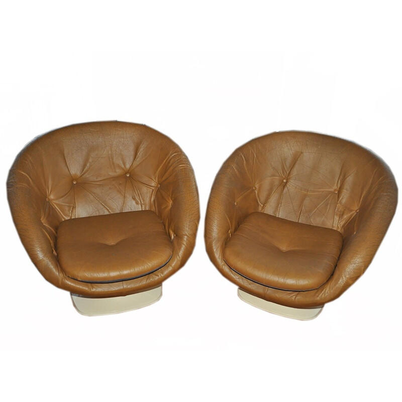Pair of vintage Space Age chairs in leatherette, Raphael RAFFEL - 1970s