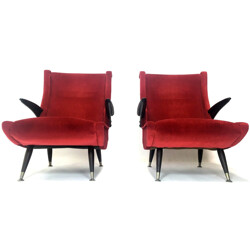 Pair of Italian armchairs in red velvet and walnut - 1950s