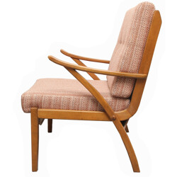 Mid century armchair in solid wood and pastell rose fabric - 1950s