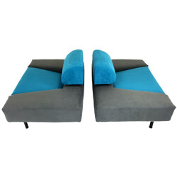 "Pair of Pastoe ""Pouffe Garni"" armchairs in blue and grey fabric, Rob ECKHARDT - 1980s"