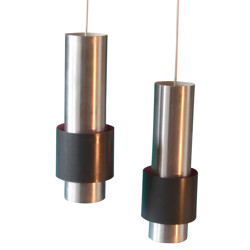 Pair of cylindrical hanging lamp, Jo HAMMERBOR - 1960s