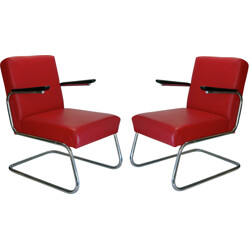Pair of armchairs modernist club in red leather - 1930s