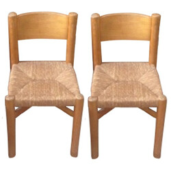 """Pair of Steph Simon """"Méribel"""" chairs, Charlotte PERRIAND - 1960s"""