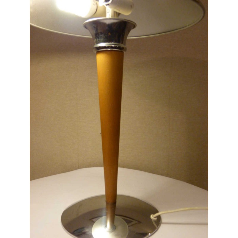 Mushroom Table Lamp In Chromed Metal And Wood - 1980S - Design Market