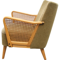 Armchair in green velvet and solid wood - 1950s