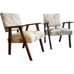 Pair of modernist armchairs in pony skin - 1940s