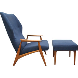 Danish armchair with its footstool in cherry wood and fabric - 1960s
