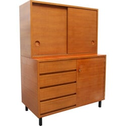 High cabinet in teak with drawers and sliding doors - 1960s