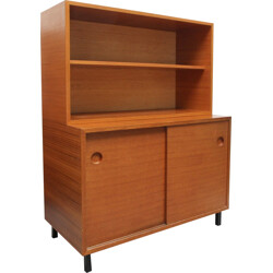 Mid-century high cabinet in teak with sliding doors - 1960s