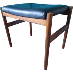 Vintage Danish ottoman in rosewood and leather - 1960s
