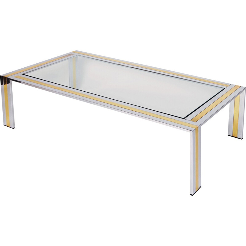 Rectangular coffee table in brass and glass, Romeo REGA - 1970s