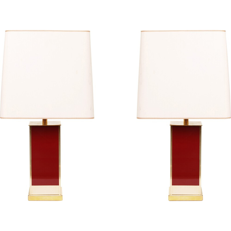 Pair of Roche & Bobois table lamps in brass, Jean Claude MAHEY - 1970s