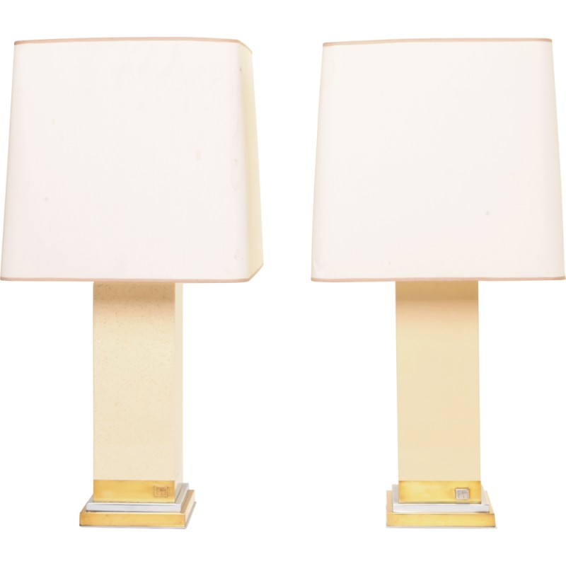 Pair of French table lamps in chromed metal and brass, Jean Claude MAHEY - 1970s