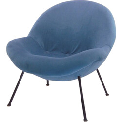 Vintage armchair upholstered in blue fabric - 1960s