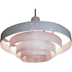 White lacquered metal pendant light - 1960s