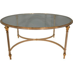 Coffee table Maison Jansen in steel and brass - 1970s