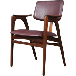 Dutch occasional chair in teak plywood and burgundy leatherette, Cees BRAAKMAN - 1960s