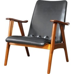 Dutch armchair in teak and black leatherette - 1960s