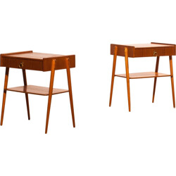 Pair of bedside tables in teak and brass - 1960s