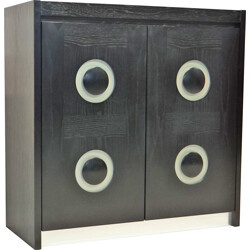 Vintage black cabinet with graphic doors - 1970s