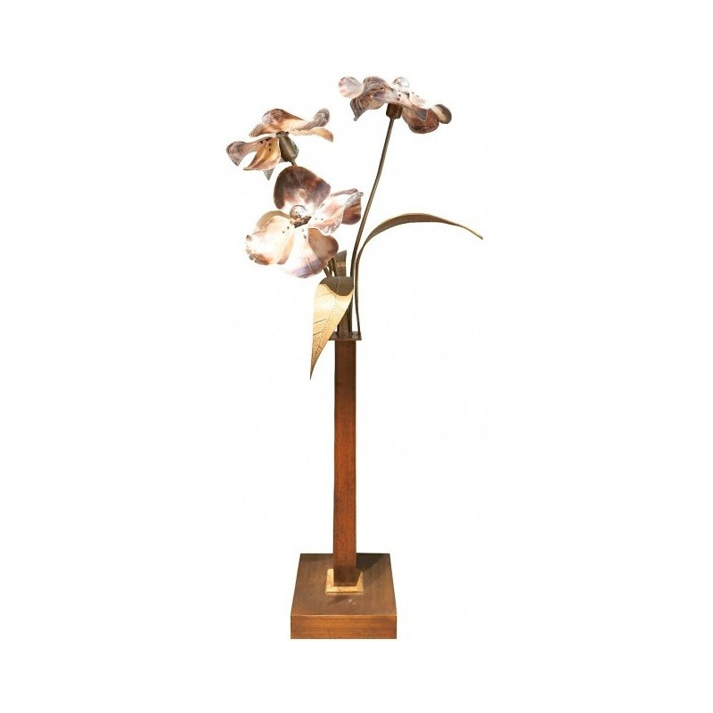 Belgian floorlamp in bronze and nacre, Willy DARO - 1970s