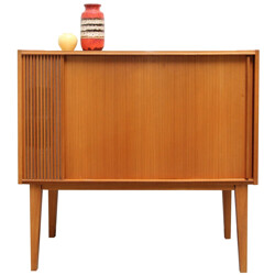 Small bar cabinet in cherry wood with tambour door - 1950s