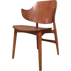 Oak armchair with curved armrests, Ib KOFOD-LARSEN - 1970s